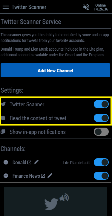 Control the settings of the twitter scanner