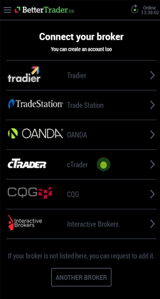 cTrader account at BetterTrader trading app