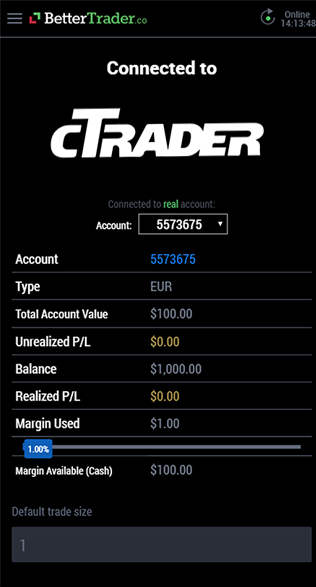 Final balance cTrader at BetterTrader trading app