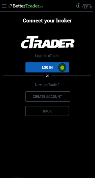 Login cTrader account at BetterTrader trading app