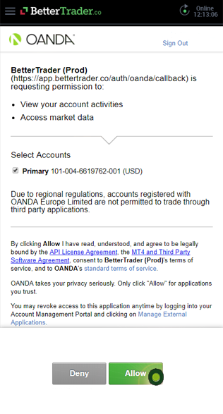 Allow permissions OANDA in BetterTrader trading app