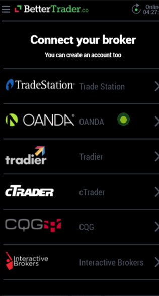 Link your OANDA at BetterTrader trading app