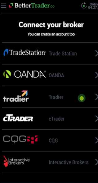 Link your tradier at BetterTrader trading app