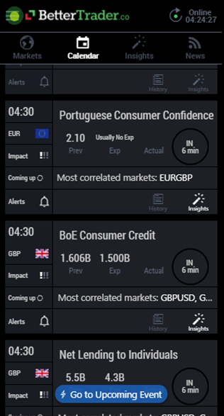Open menu at BetterTrader trading app